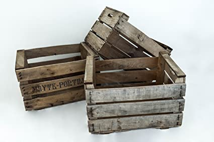 Set de 3 Cajas de Fruta Vintage Sam, Madera, Natural, Beige, Típica