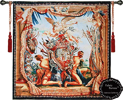 Beautiful Coat of Arms and Angel M Medieval Tapestry Jacquard Woven Wall Hanging Fine Tapestry Art Decor
