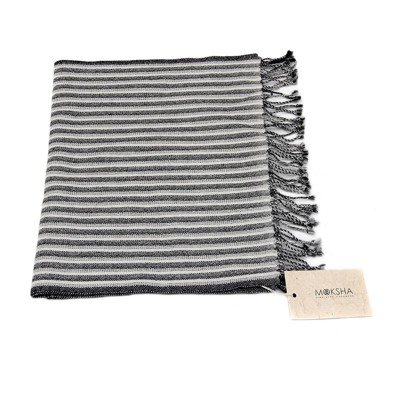 100% Cashmere Scarf with Tassel Lightweight, 26/2 Mongolian Yarn Composition, Hand-woven, Grey Black White Striped Pattern © Moksha Cashmere