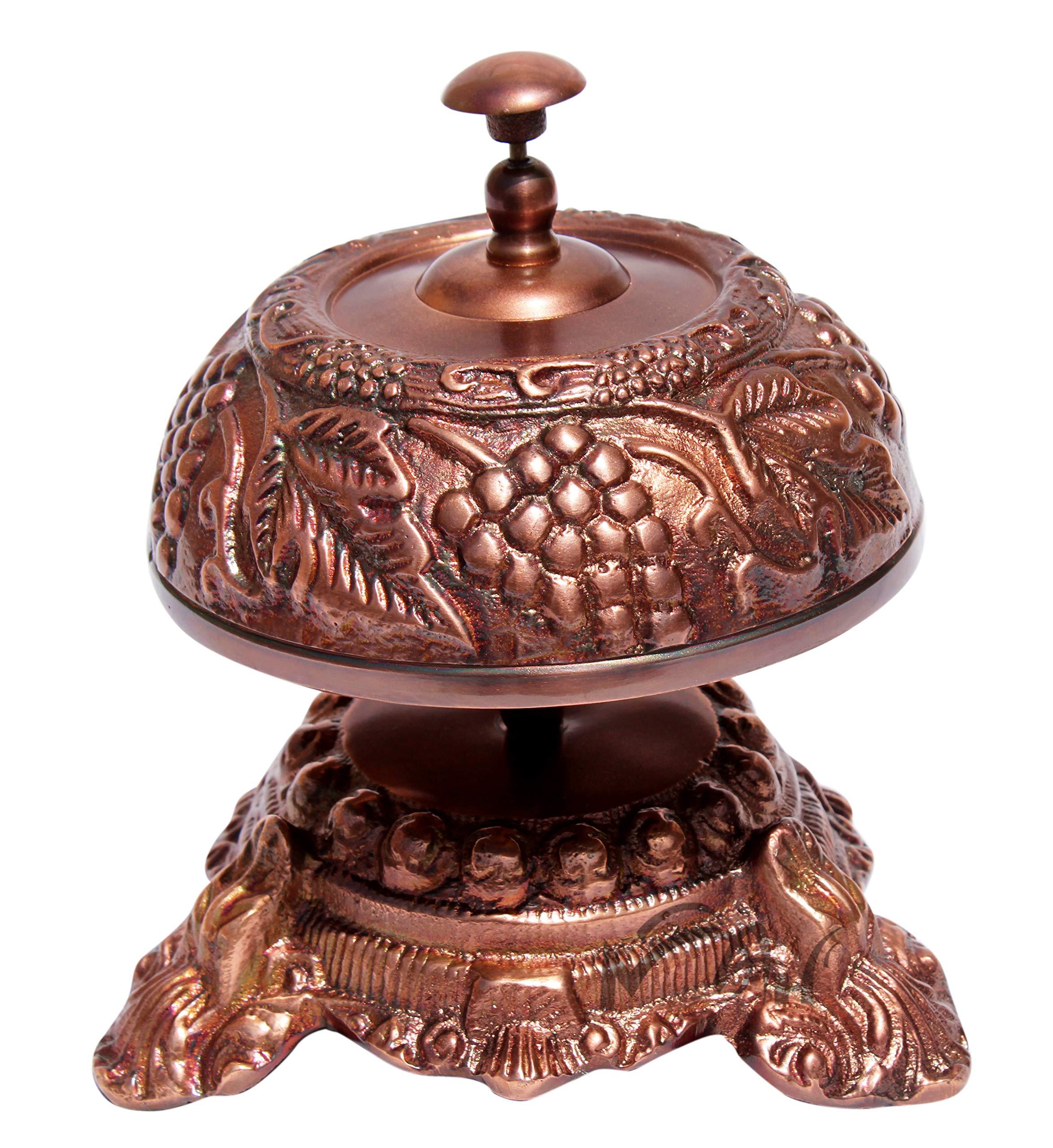 MAH Nautical -Solid Aluminum Beautiful Desk Bells Wine Unique Table Bells Home Decor Gift Call Bell Reception Bell (Grapevine, Copper Antique) C-3063