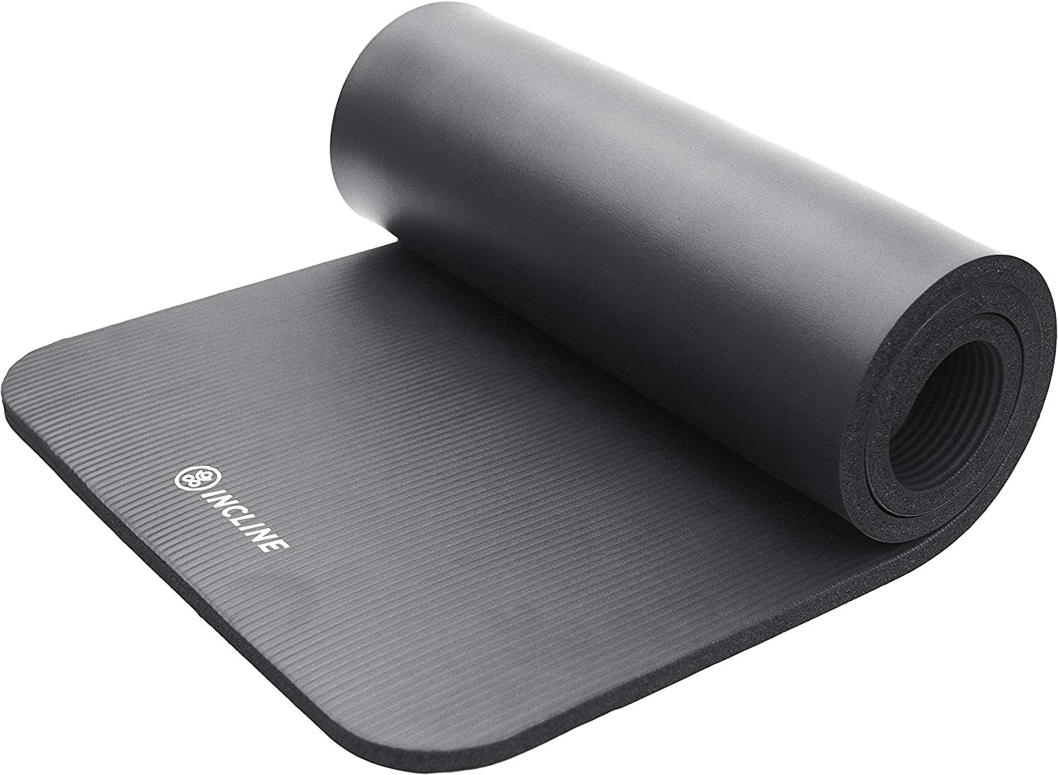 Incline Fit Extra Thick Exercise Mat w/ Carrying Strap - Non Slip & Comfortable Workout Mat For Yoga, Pilates, Stretching, Meditation, Floor & Fitness ...