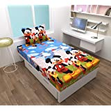KIHOME 144 TC Cotton Single Bedsheet with Pillow Cover Light Blue Mickey