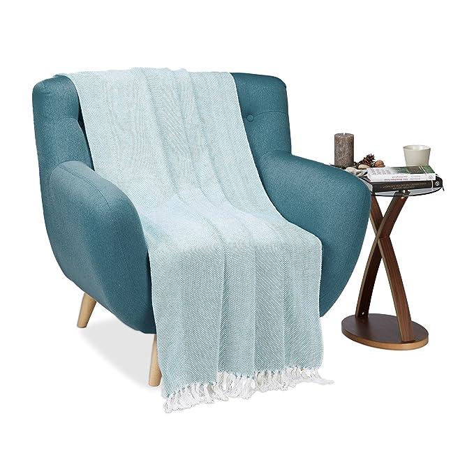 Relaxdays Manta sofá Cama con diseño a Rayas, 100% algodón ...