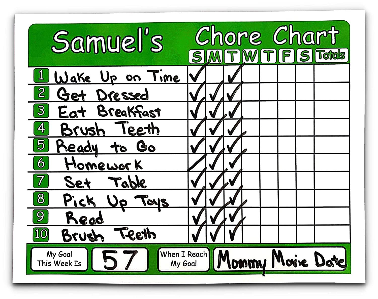 Personalized with Your Childs Name and the Title of Your Choice Chore Chart for Kids Use a Dry Erase Marker to Write Up to 10 Chores or Behaviors and to Set the Weekly Goal and Reward