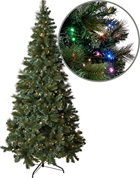 Amazing Seasons 7 5ft Prelit Christmas Tree With 440 Color Changing Led Lights Artificial Pine With Hinged Branches And Foldable Stand For Easy
