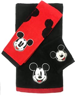 Disney Mickey Mouse 3 Piece Cotton Bath Towel Set (Official Disney Product)