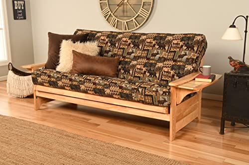 Phoenix Futon Sofa in Natural Finish with Peter s Cabin Mattress