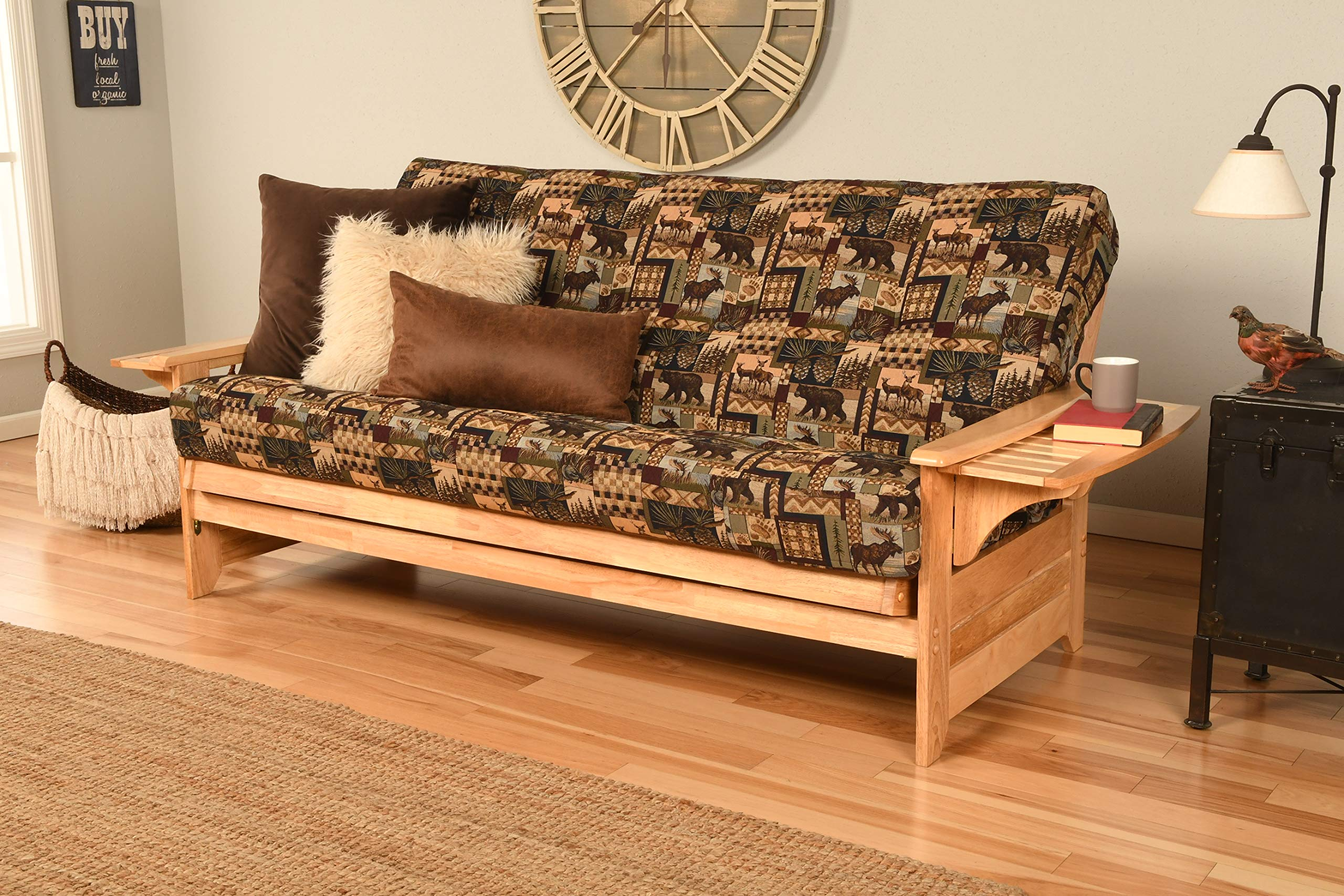 Phoenix Futon Sofa in Natural Finish with Peter's Cabin Mattress by Kodiak Futons