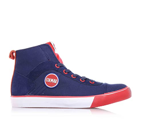 Colmar Sneaker Blue and Red Fabric, with Side Zip Closure