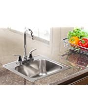 KINDRED LKBS602KIT Essentials All-in-One Kit 15 x 6-Inch Deep Drop-in Bar/Utility Sink in Satin Stainless Steel, FBFS602NKIT, Compact, Polished