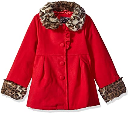 60b017b89e4 Amazon.com  Ok Kids! Girls  Wool Coat Faux Fur Leopard Trim  Clothing
