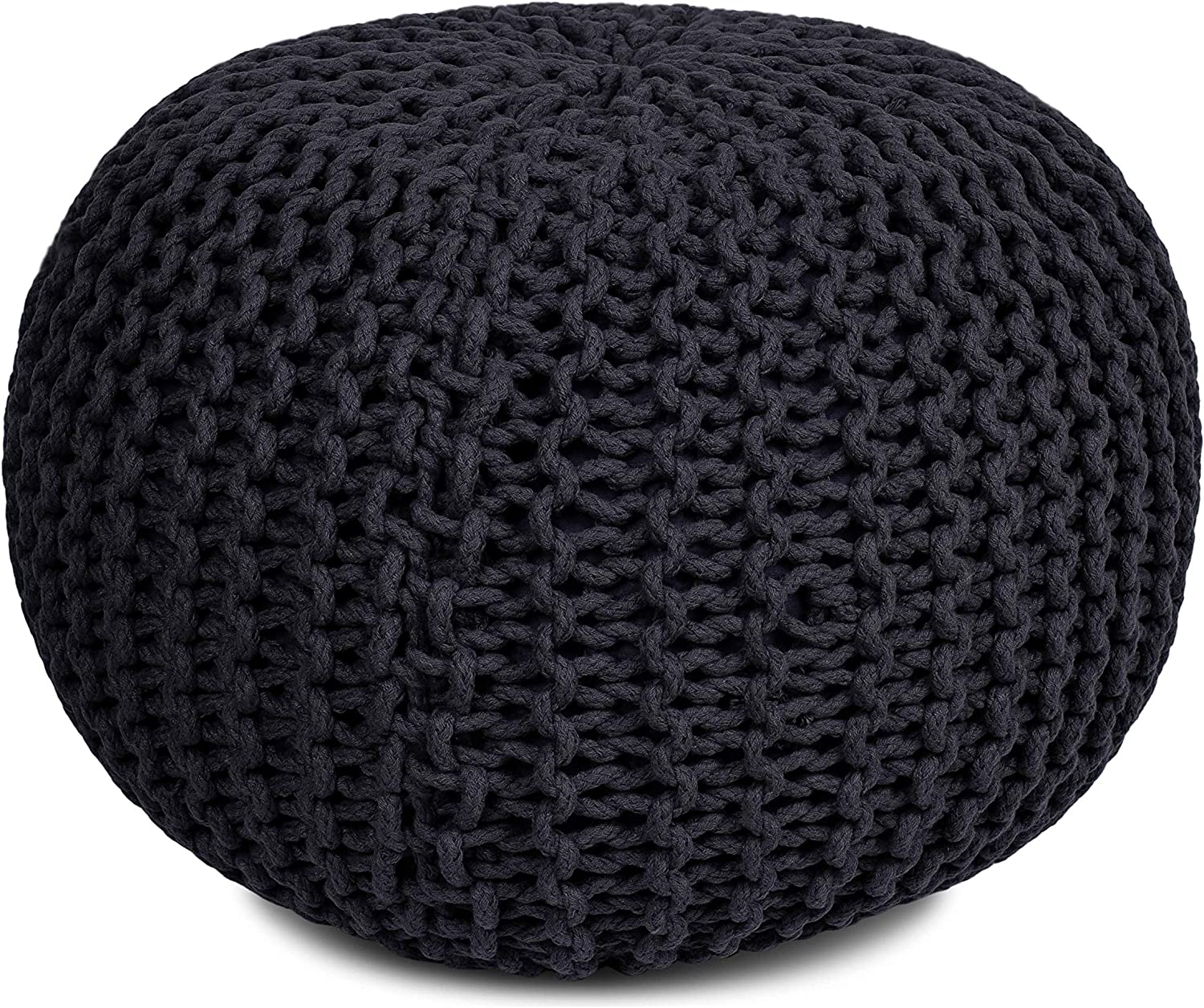 BIRDROCK HOME Round Pouf Foot Stool Ottoman - Knit Bean Bag Floor Chair - Cotton Braided Cord - Great for The Living Room, Bedroom and Kids Room - Small Furniture (Charcoal Grey)