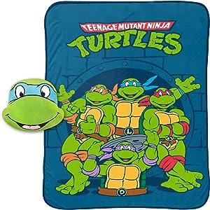 "Jay Franco Nickelodeon Teenage Mutant Ninja Turtles Leonardo Plush Nogginz Pillow and 62"" x 90"" Blanket - 2 Piece Set"