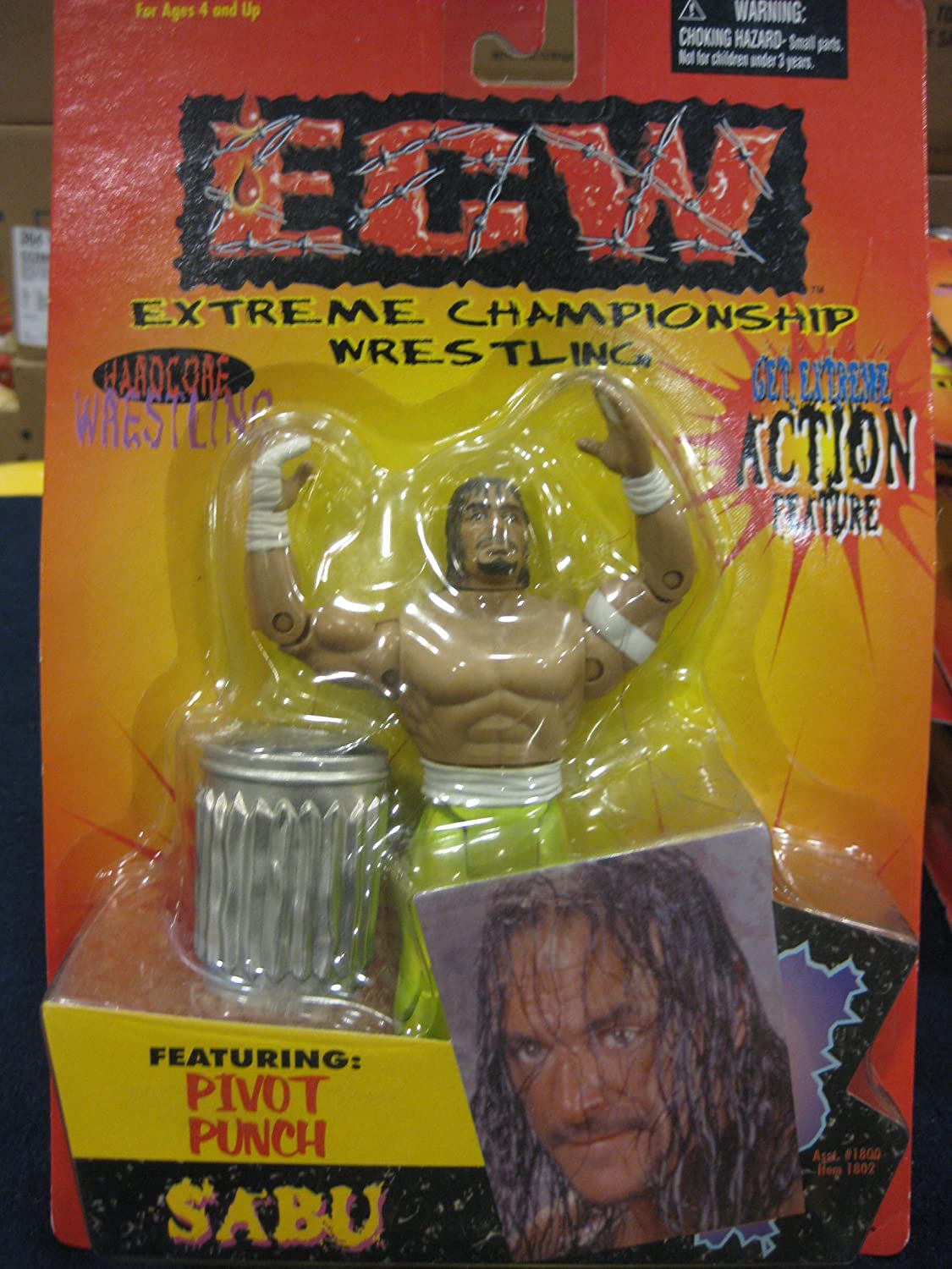 ECW Get Extreme Action Figure Pivot Punch Sabu With Green Pants Hardcore Action Figure With Garbage Can By Toymakers 1999 by WCW