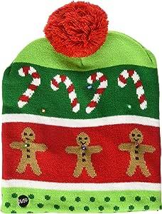 Lotsa Lites! Flashing Holiday Christmas Knitted Hat (Gingerbread)