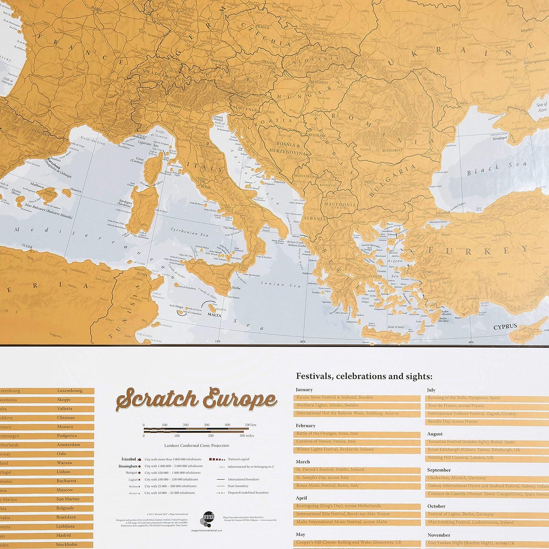 Maps International - Mapa rascable, edición europea, cartografía ...