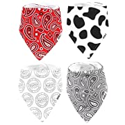 Stadela Baby Adjustable Bandana Drool Bibs for Drooling and Teething Nursery Burp Cloths 4 Pack Unisex Baby Shower Gift Set for Girl and Boy – Western Baby Cowboy Cowgirl Cow Skin Paisley Wild West