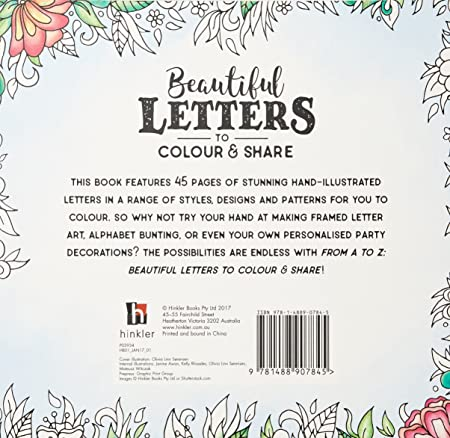 A Z Beautiful Letter To Colour And Share Amazoncouk Kitchen Home