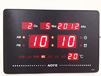 LED Digital Display Reloj de pared con indicador Fecha Alarma Sin Tic Tac