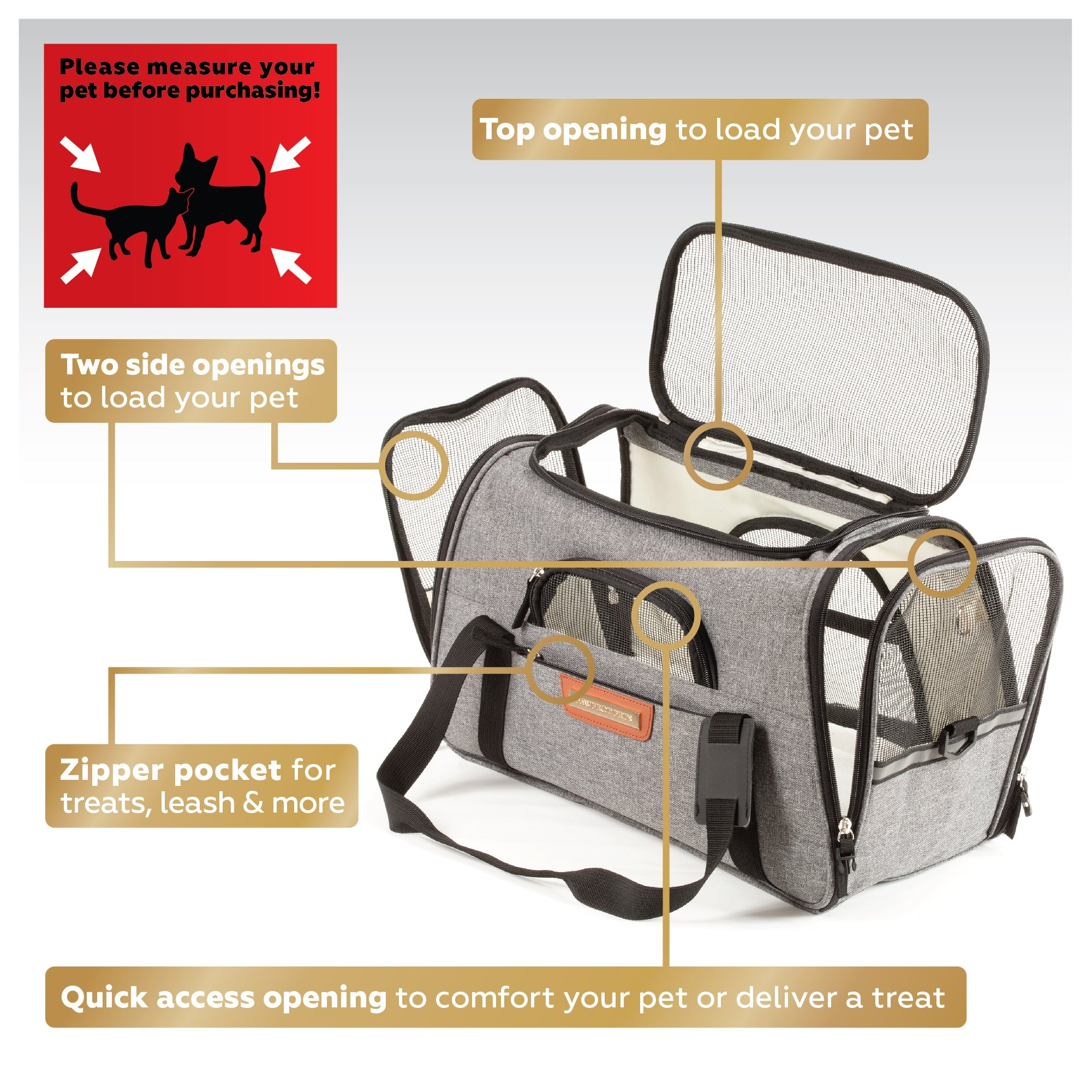 Pawfect Pets Pet Travel Carrier, Soft-Sided with Two Pet Mats for Small Dogs and Cats (Grey) by Pawfect Pets (Image #4)