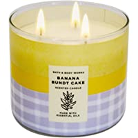 White Barn Bath and Body Works, 3-Wick Candle w/Essential Oils - 14.5 oz - 2021 Spring Scents! (Banana B Cake)