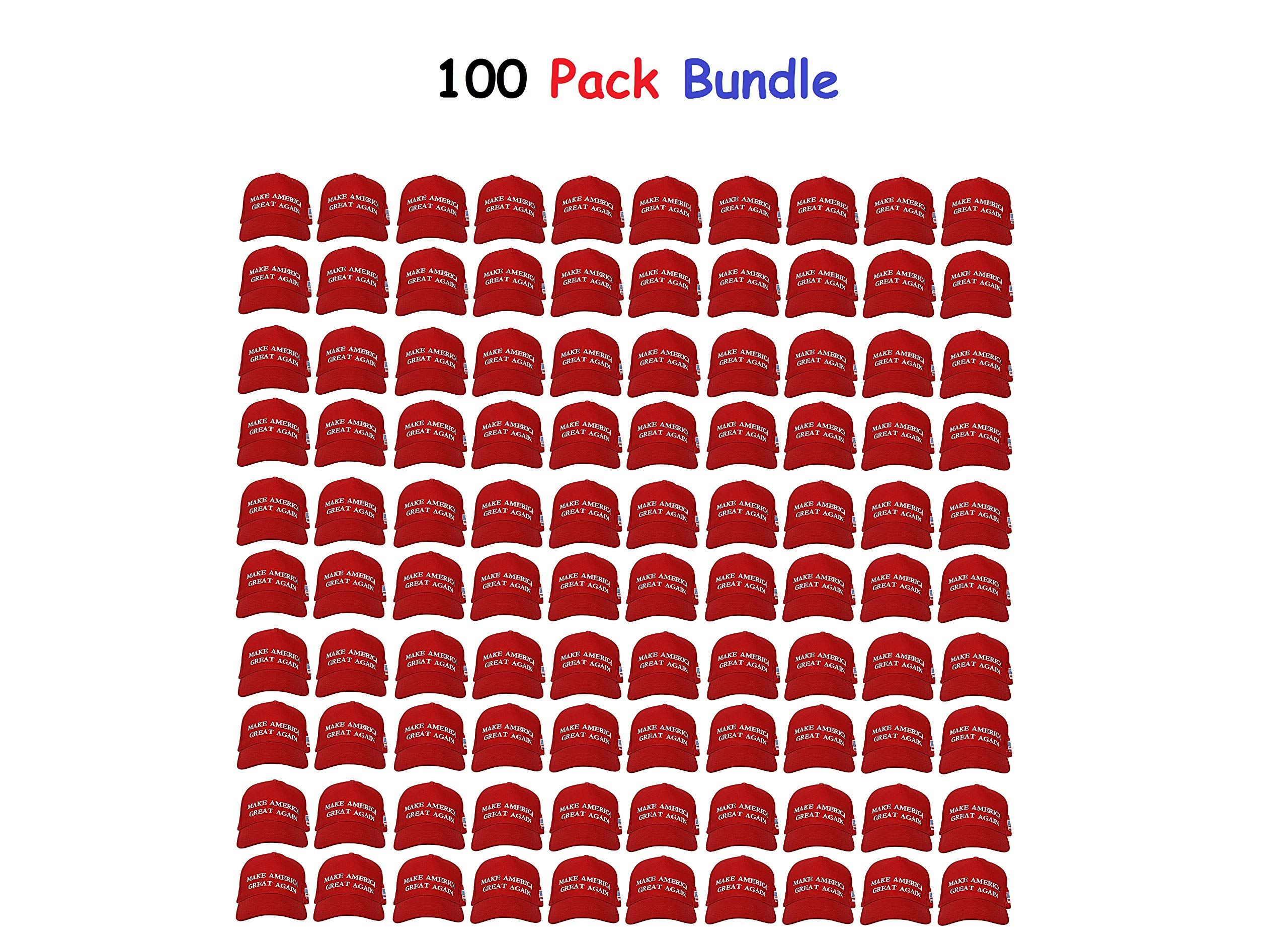 Ezone USA Great Again Hats Adjustable Baseball Caps [100 Pack] (Red 1)