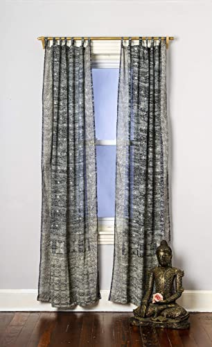 Charcoal Grey Silver Curtain Boho Window Treatment Light Sari 84 96 108 inch for Bedroom Living room Dining room Kids Yoga Studio Canopy Bed Tent Hippie Gypsy Chic Bright Colorful HomeDecor W Gift bag