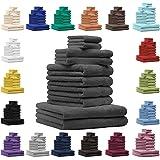 Betz Lot de 10 serviettes set de 2 serviettes de bain 4 serviettes de toilette 2 serviettes d'invité et 2 gants de toilette 100% Coton Premium color bleu