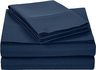 Amazon Basics Juego de sábanas de microfibra, Full, azul marino