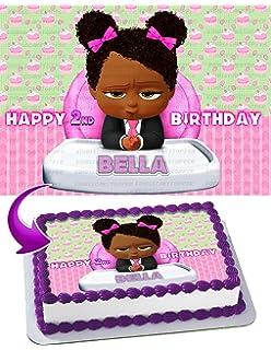 Edibleinkart African American Girl Boss Baby Edible Cake