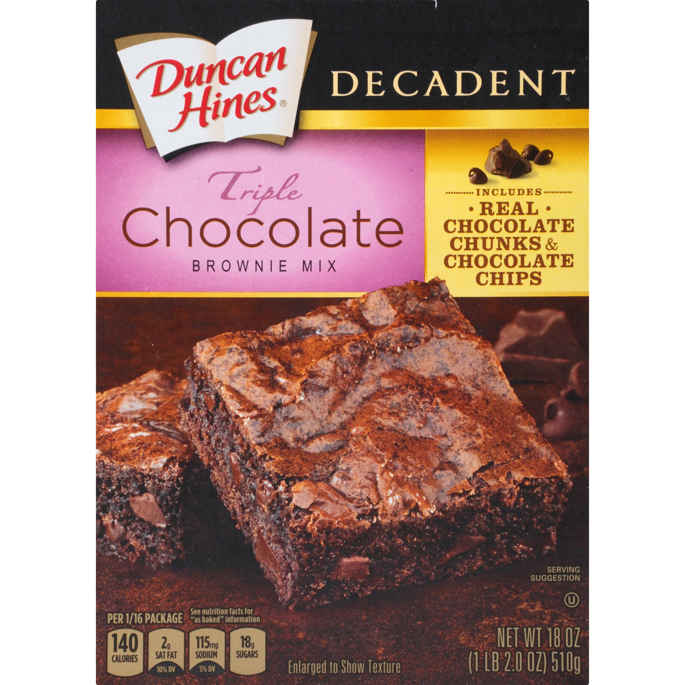 Duncan Hines Decadent Brownie Mix, Triple Chocolate, 18 Ounce (Pack of 12)