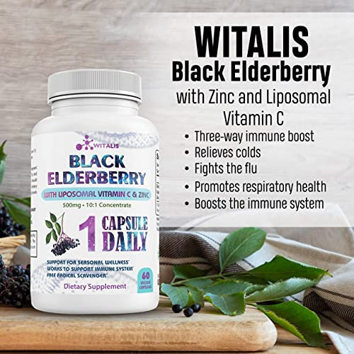 Black Elderberry Supplement with Zinc Liposomal Vitamin C – Sambucus Capsule Supplements for Adult Immune Support – Concentrated Capsules, Elderberry Pills – 60 Vegetarian, Gluten Free