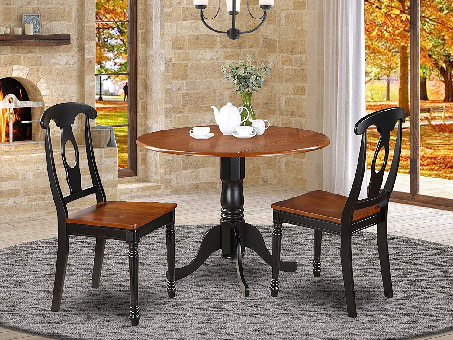 Amazon Com 3 Pc Small Kitchen Table Set Small Table And 2 Dining Chairs Furniture Decor