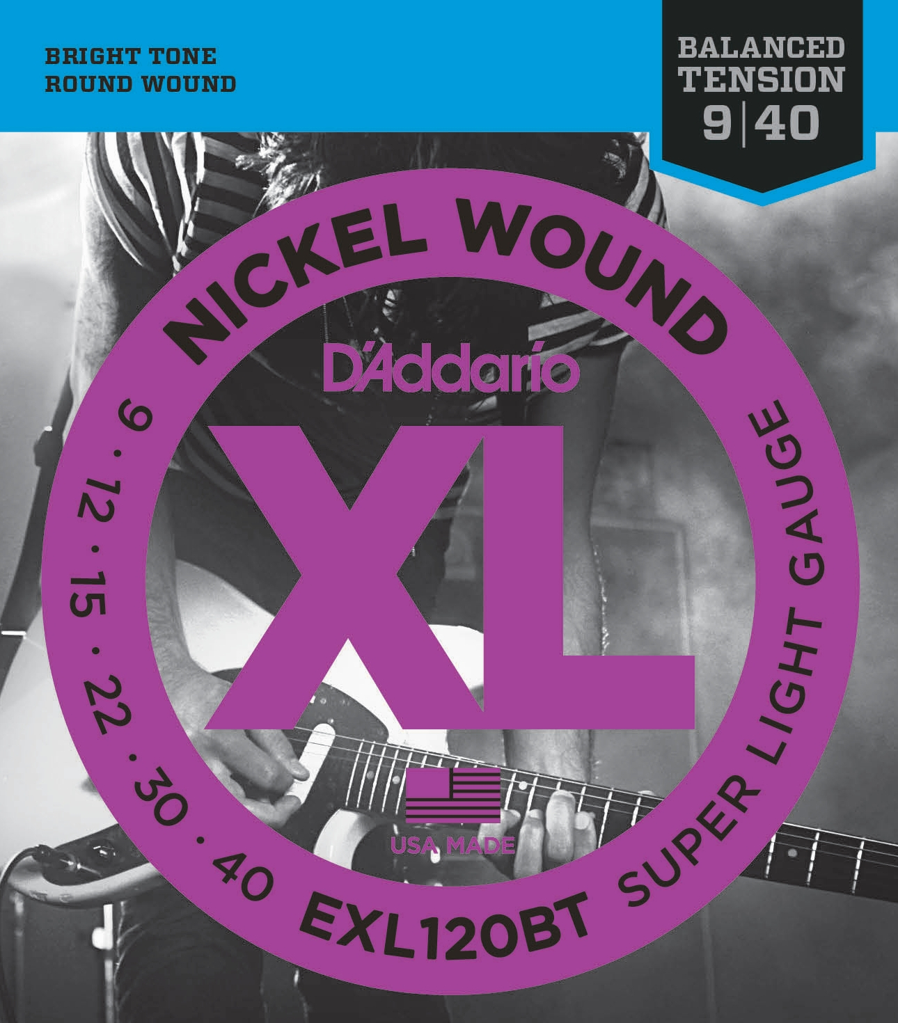 D'Addario EXL120BT Nickel Wound Electric Guitar Strings, Balanced Tension Super Light, 9-40 D'Addario