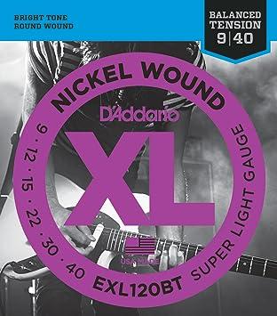 DAddario EXL120BT, cuerdas con entorchado en níquel para guitarra eléctrica, tensión extra