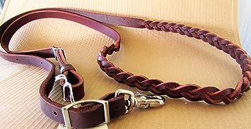 PRORIDER Horse Western Black Leather Round Braided Latigo Roper Reins 6652BK