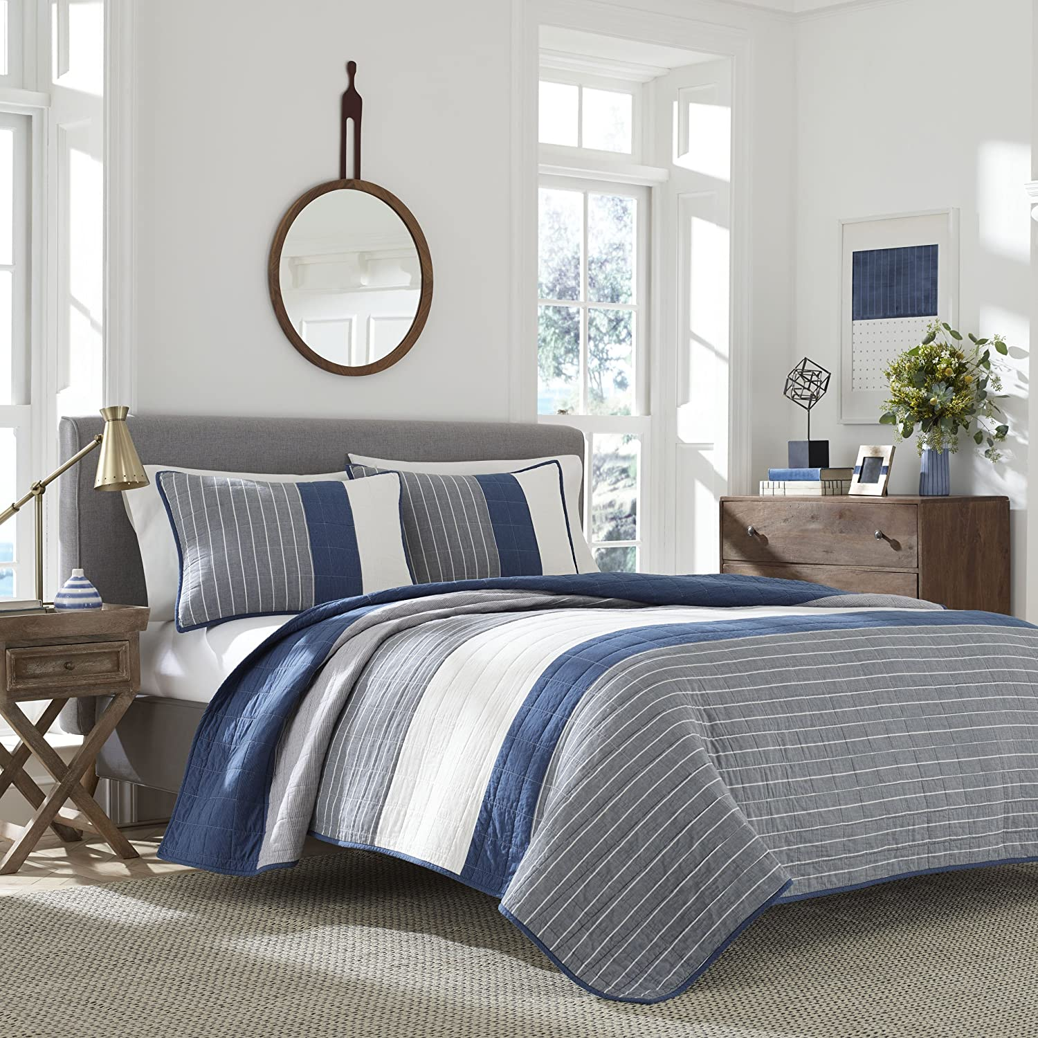 Nautica Swale Quilt, Full/Queen, Dark Blue