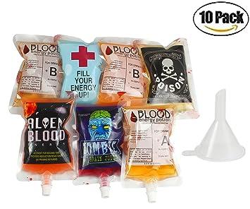 KOSBON 250ml Paquete de 10 bolsas de sangre de vampiro de Halloween con embudo reutilizable,