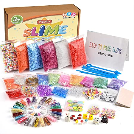 FEPITO 76 PCS slime kit, incluyendo bolas de espuma, bolas de ...