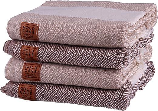 Gold Case Set of 4 XXL and Thick Hermes Pestemal Turkish Bath Towel 100% Cotton BeigeBrown