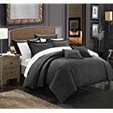 Chic Home 7 Piece Khaya Down Alternative Jacquard Striped Comforter Set, King, Black