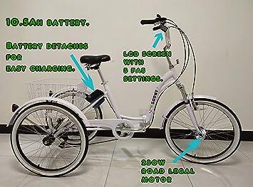 Triciclo plegable eléctrico para adultos, ruedas de 24 pulgadas, sistema de cambios
