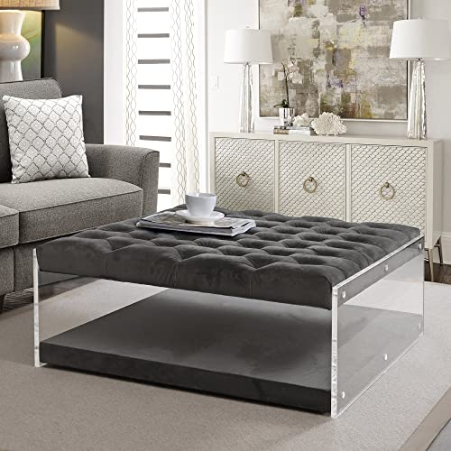 Inspired Home Audrey Grey Velvet Acrylic Ottoman – Cocktail Coffee Table Square Tufted Nailhead
