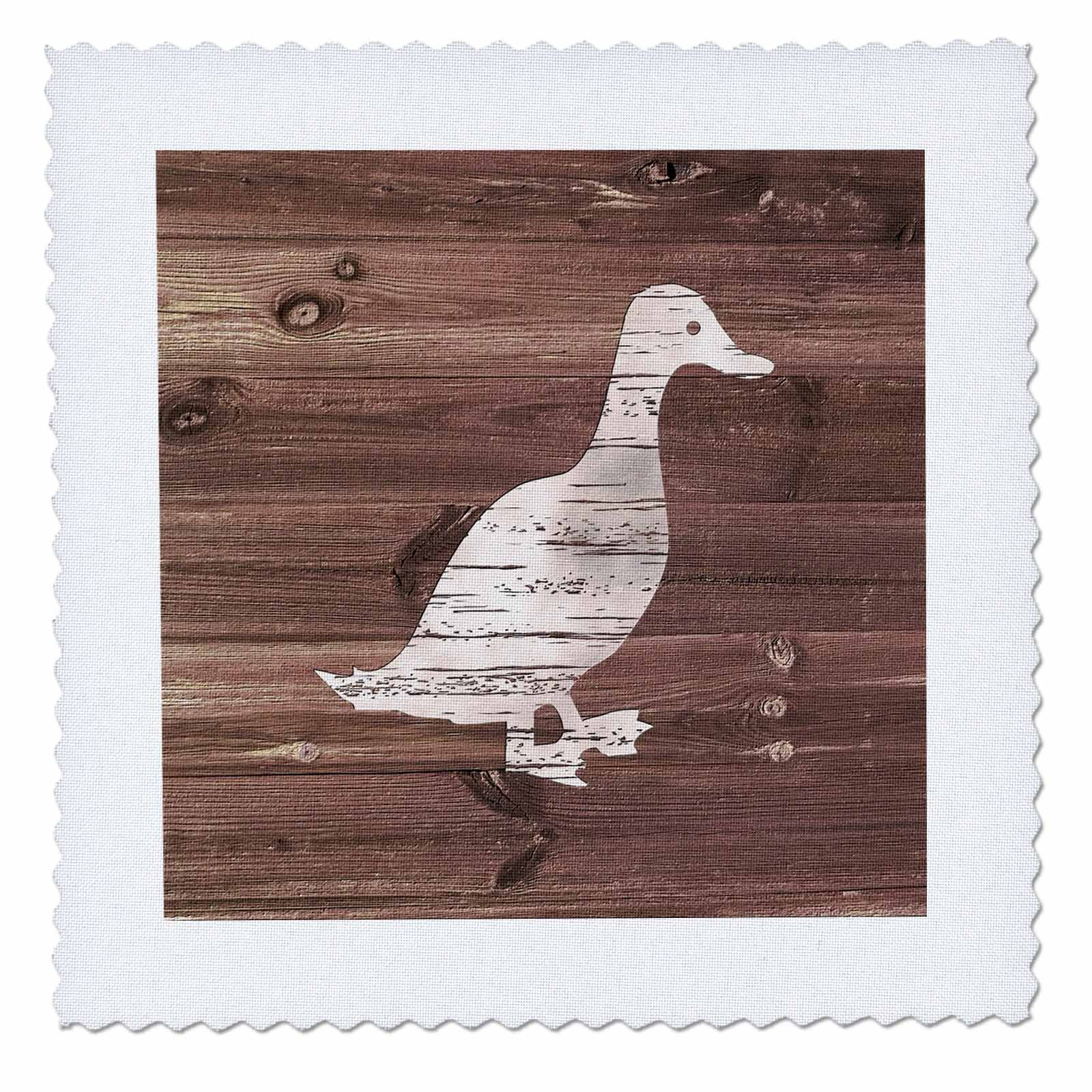 3dRose Russ Billington Designs - Little White Duck on Brown Weatherboard- Not Real Wood - 22x22 inch quilt square (qs_261844_9)