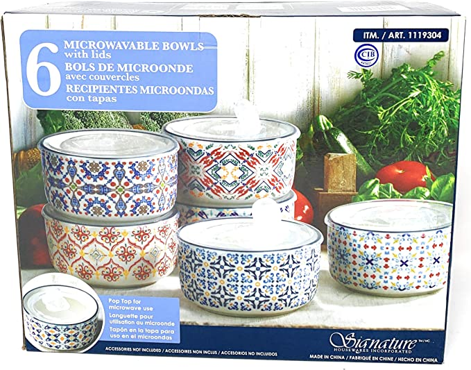 Signature Microwaveable Bowls with lids 6 Count