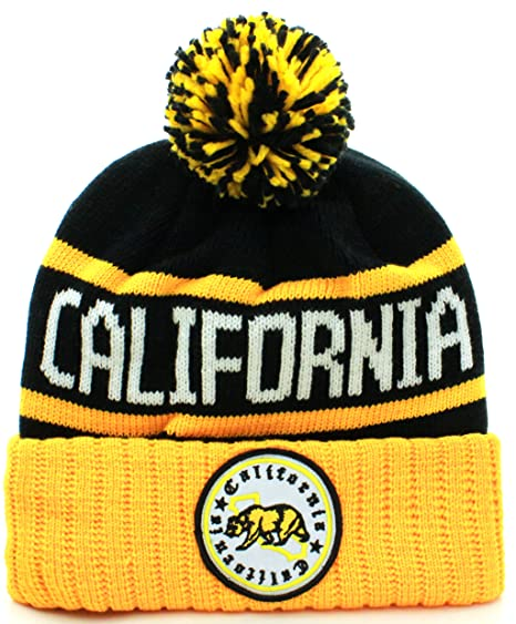 121f2ba2ac4 Absolute Clothing California Republic Cuff Beanie Cable Knit Pom Pom Hat Cap   Amazon.in  Clothing   Accessories
