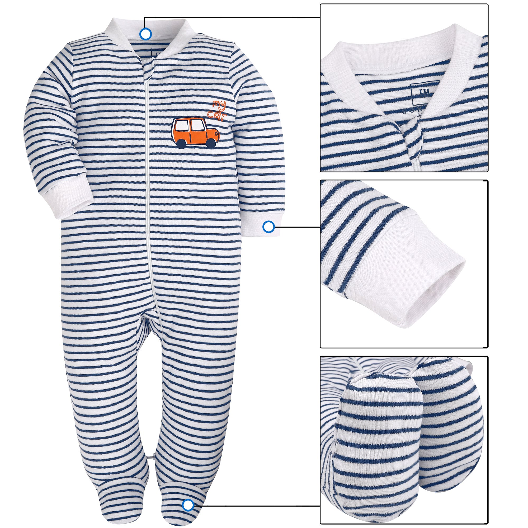 Baby Boys'2 Pack Footed Sleeper Yarn-Dyed Striped Baby Pajamas Set (Blue Dog/Grey Car, 18-24 Months) by SHENGWEN (Image #2)