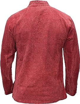 Gheri - Camisa de algodón de cáñamo con cuello en V para hombre Rojo Granate lavado a piedra S: Amazon.es: Ropa y accesorios