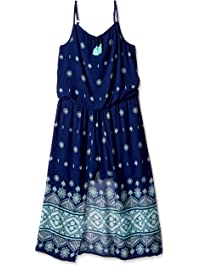 3afbb6aa3406 My Michelle Girls  Big Cold Shoulder Romper Maxi Dress with Tassel Tie