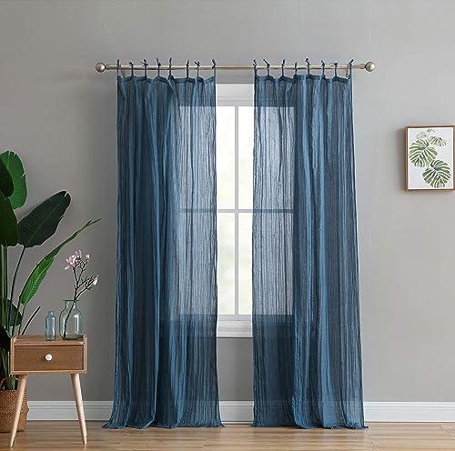 Peach Oak Window Curtain – Clover Solid Blue 95 Panel – Single